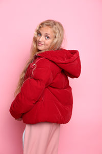 Oversized Bomber Jacket - Red