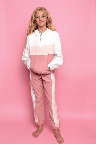 Sporty Colour Block Trackie - Pink/White