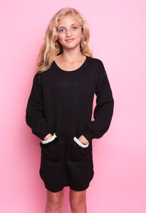 Pocket Detail Jumper Dress - Black
