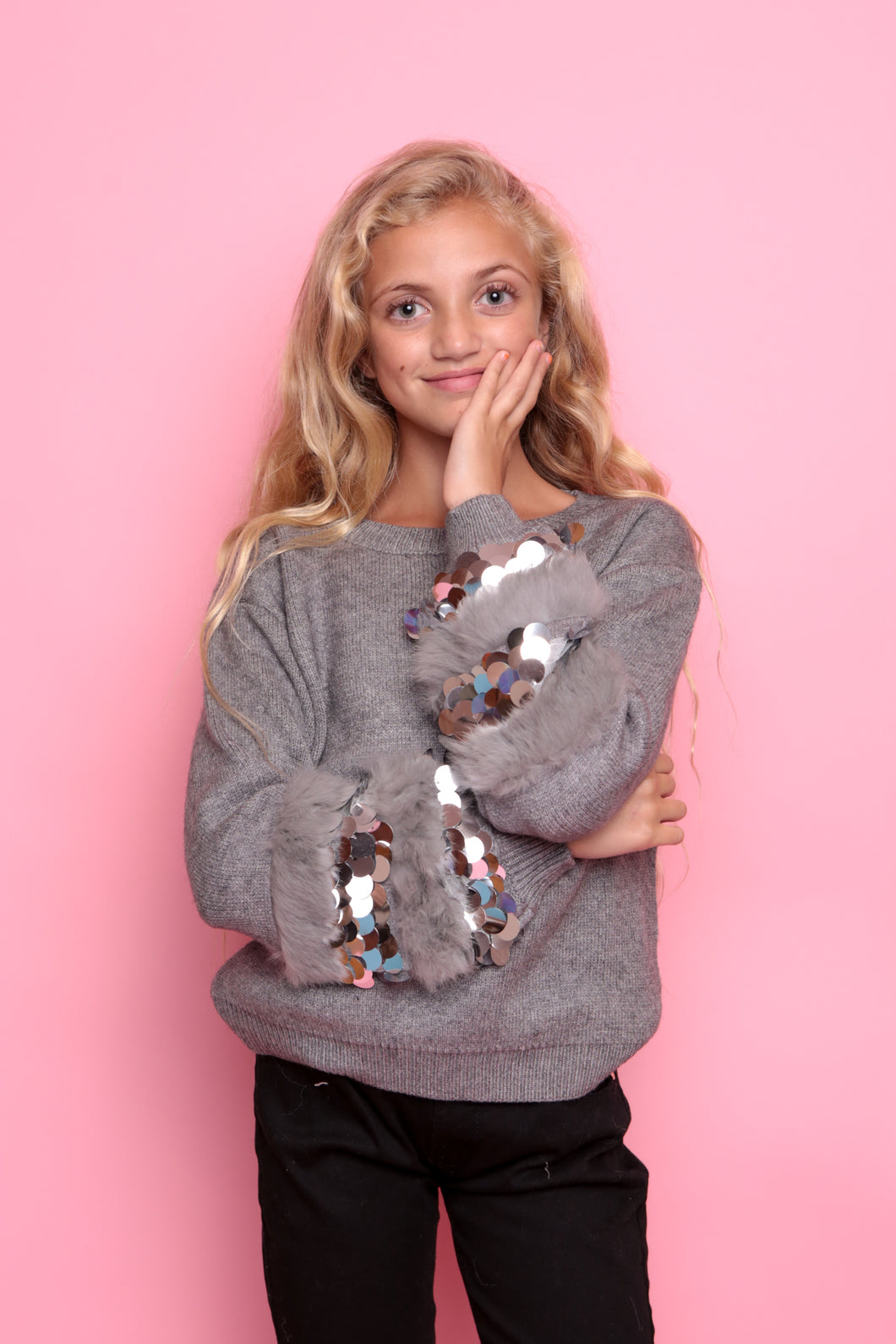 Sequin Disc Sleeve Jumper - Grey