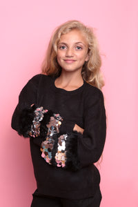 Sequin Disc Sleeve Jumper - Black