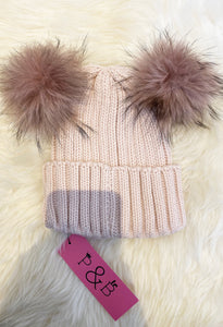 Fur Double Bobble Hat - Pink