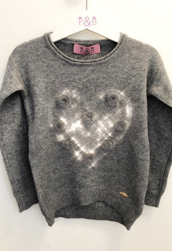 Diamante Heart Jumper - Grey