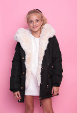 Faux Fur Parka Jacket - Black