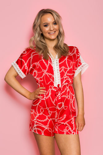 Chain Print Playsuit - Red