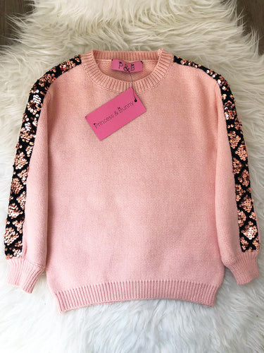 Sequin Stripe Detail Jumper - Pink