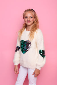 Sequin Heart Jumper - White