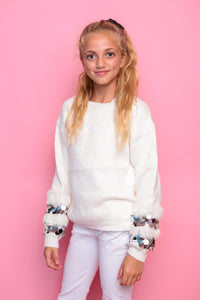 Sequin Disc Sleeve Jumper - White