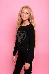 Diamante Heart Jumper - Black