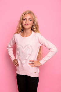 Diamante Heart Jumper - Pink