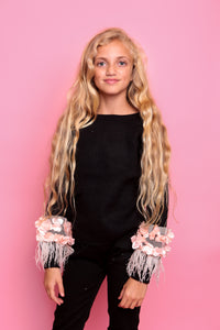 Petal Feather Jumper - Black