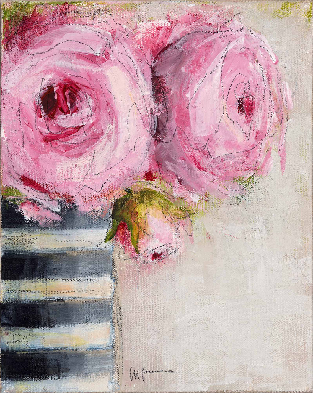 Pink Roses in Black & White Striped Vase