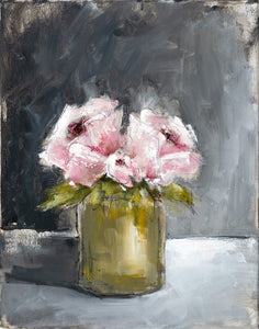 Peonies - Green Vase - Dark Background