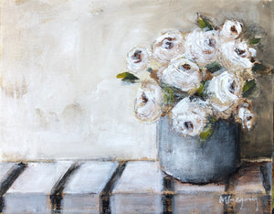 Neutral Roses on Stripes