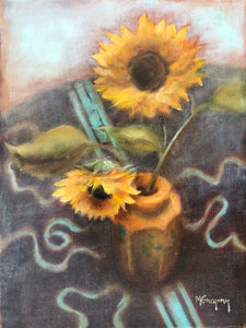 Sunflowers on Turquoise and Brown