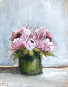 Peonies in Green Vase 3