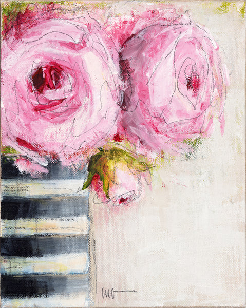 Pink Roses - Black and White Striped Vase