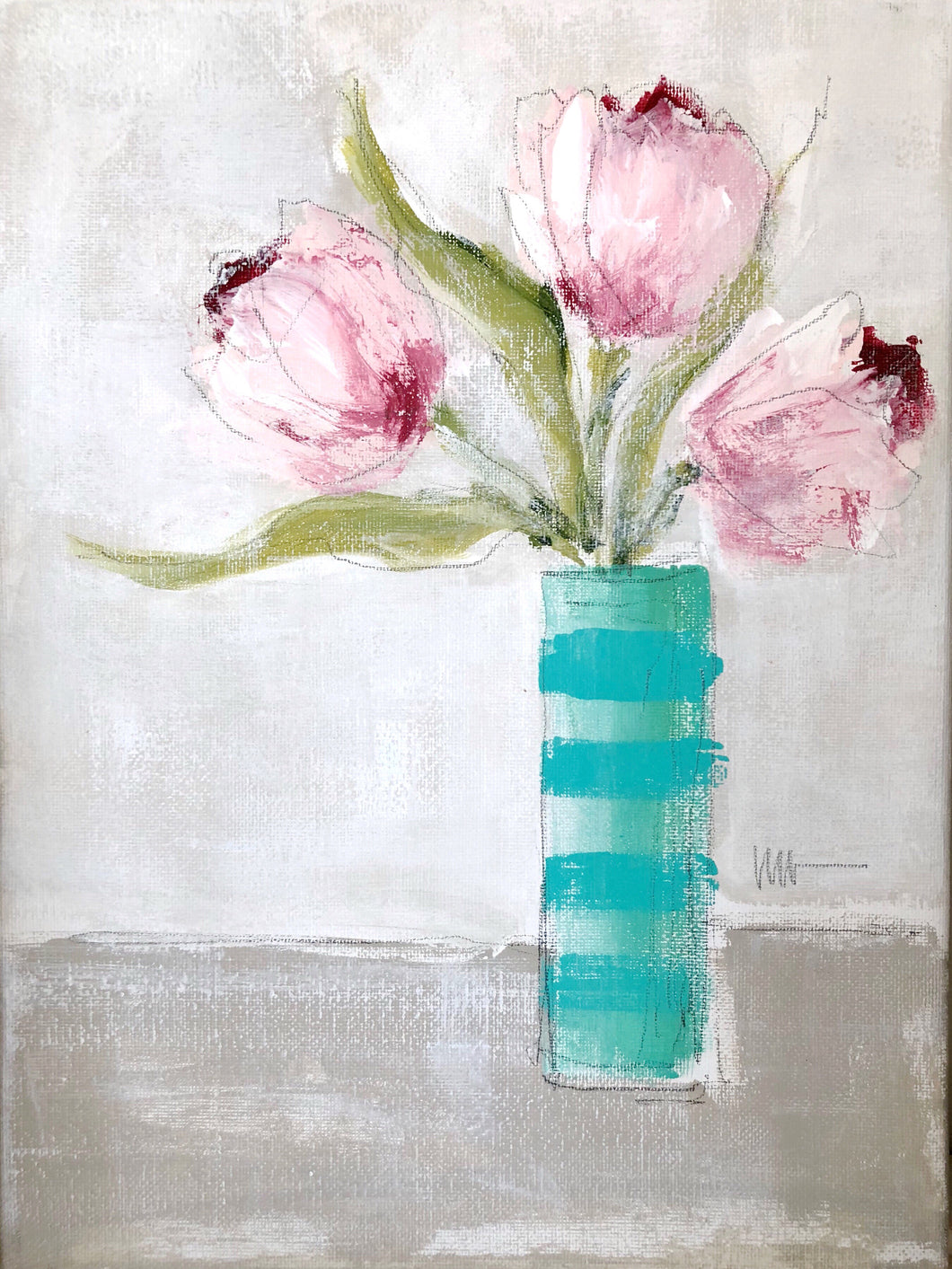 Pink Tulips: Striped Vase 1
