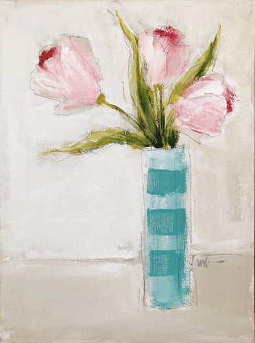 Pink Tulips: Striped Vase 3
