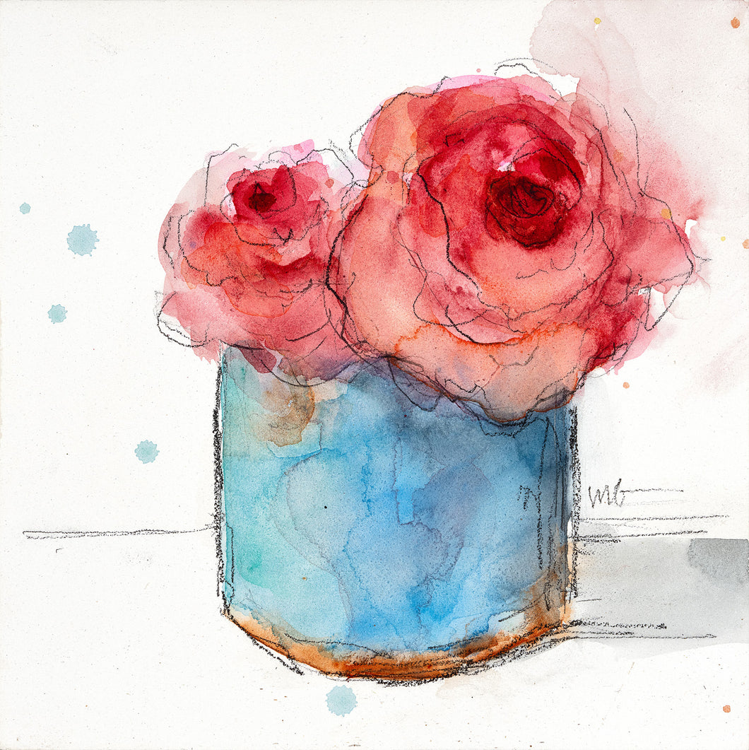 Roses in Blue Vase Watercolor