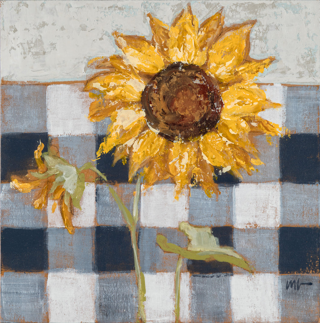 Sunflower on Buffalo Check