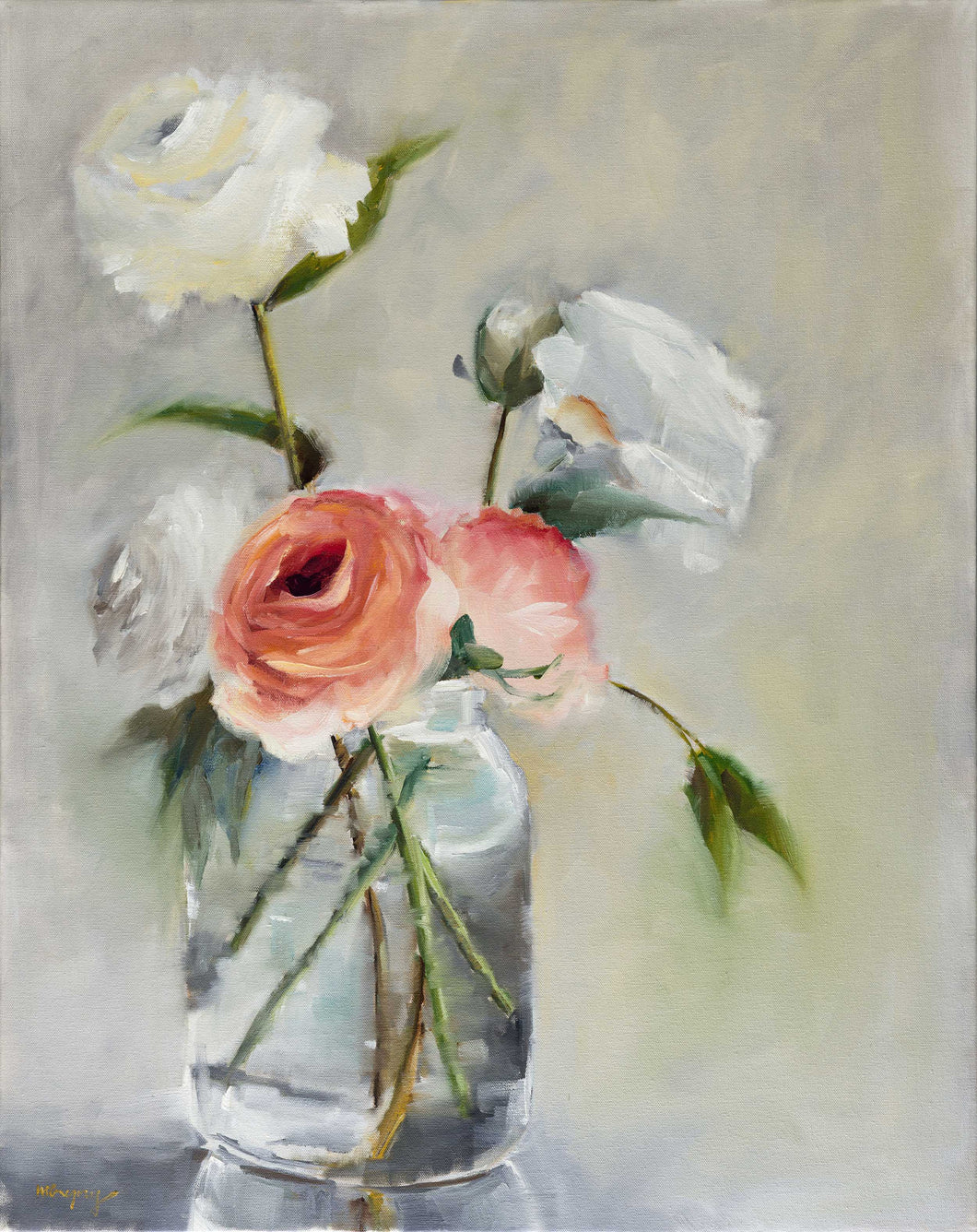 White and Pink Roses