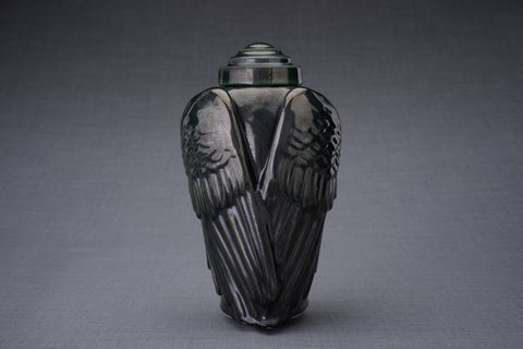 Wings black melange colour urn for human ashes. Adult size urn by Pulvis Art urns