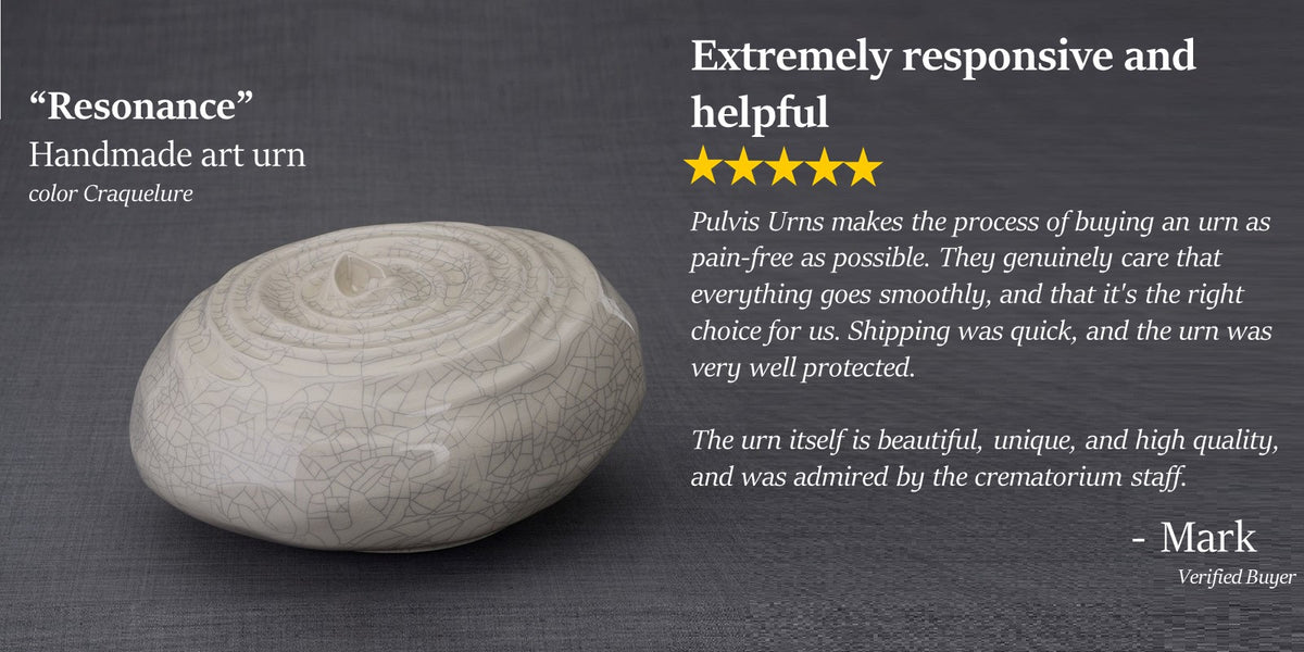 Resonance handmade art urn for ashes by Pulvis Art Urns. 5 star customer review