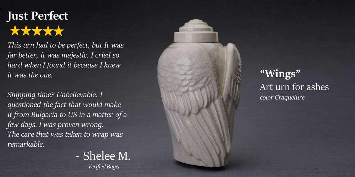 Wings Art Urn for Ashes by Pulvis Art Urns. Customer 5 star review