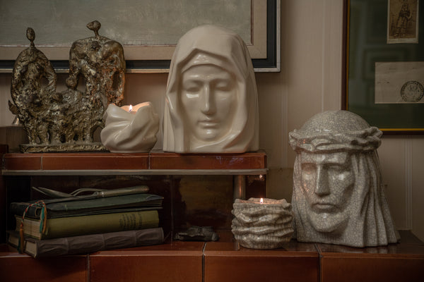 "Ceramic urns for ashes ""The Christ"" and ""The Holy Mother"" by Pulvis Art Urns. Blog Article on cremation"