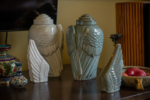 "Set of Ceramic Art Urns for Ashes - ""Wings"" By Pulvis Art Urns"