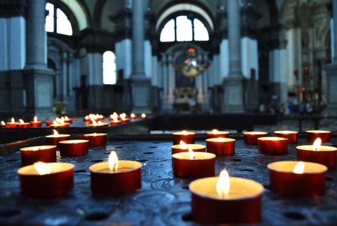 Candles in a Church. Photo from blog article by Pulvis Art Urns