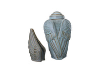 Set of Cremation Urns for Ashes - Wings ( Large urn + Keepsake)-Pulvis Art Urns