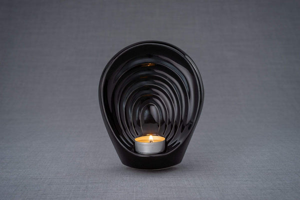 Guardian Handmade Keepsake Cremation Urn for Ashes, color Lamp Black, Candle-holder-Pulvis Art Urns