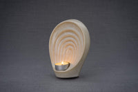 Guardian Handmade Keepsake Cremation Urn for Ashes, color Light Sand Melange, Candle-holder-Pulvis Art Urns