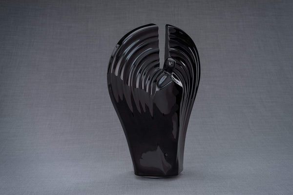 Guardian Handmade Cremation Urn for Ashes, size Large/Adult, color Lamp Black-Pulvis Art Urns