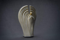 "Ceramic Art Urn for Ashes - ""Guardian"" - Large - Light Sand Melange"