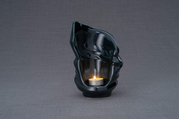 Light Handmade Keepsake Cremation Urn for Ashes, color Oxide Green, Candle-holder-Pulvis Art Urns