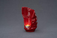 Light Handmade Keepsake Cremation Urn for Ashes, color Red, Candle-holder-Pulvis Art Urns