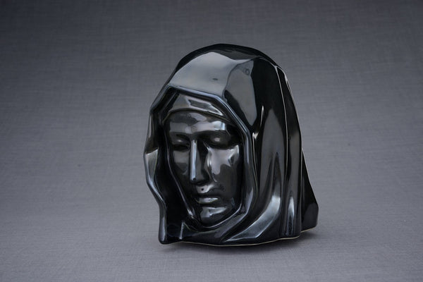 The Holy Mother Handmade Cremation Urn for Ashes, size Large/Adult, color Black Gloss-Pulvis Art Urns