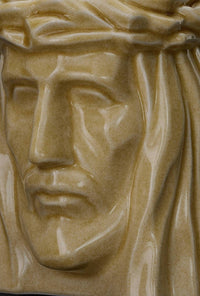 "Ceramic Art Urn for Ashes - ""The Christ"" - Large - Light Sand"