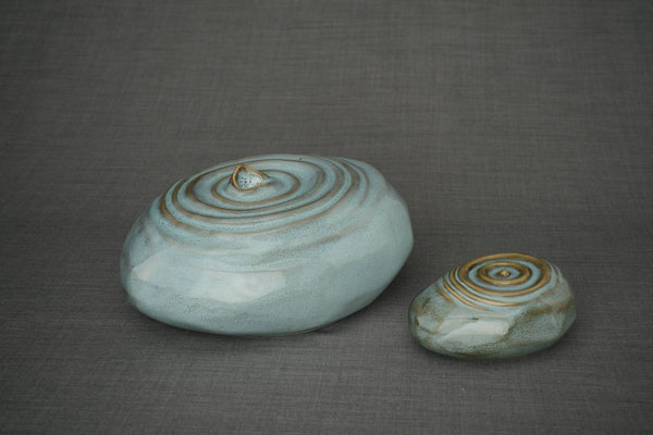 Set Of Ceramic Art Urns for Ashes - Resonance  ( Large urn + Keepsake)