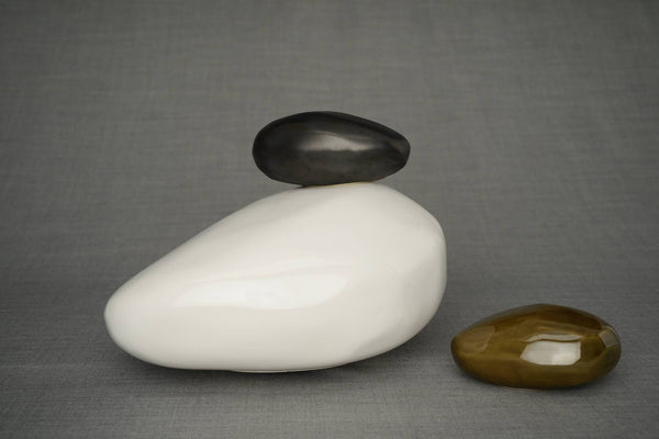 Set of Cremation Urns for Ashes - Stone ( Large urn + Keepsake)-Pulvis Art Urns