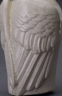 "Ceramic Art Urn for Ashes - ""Wings"" - Large - Craquelure"