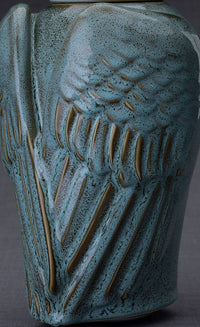 "Ceramic Art Urn for Ashes - ""Wings"" - Large - Oily Green Melange"