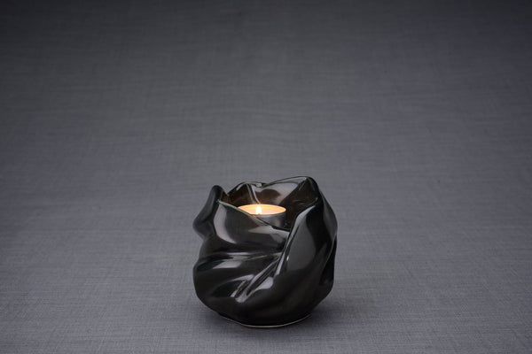 The Holy Mother Handmade Keepsake Cremation Urn for Ashes, color Black Gloss, Candle-holder-Pulvis Art Urns