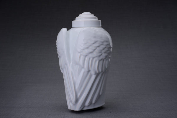 Wings Handmade Cremation Urn for Ashes, size Large/Adult, color White-Pulvis Art Urns