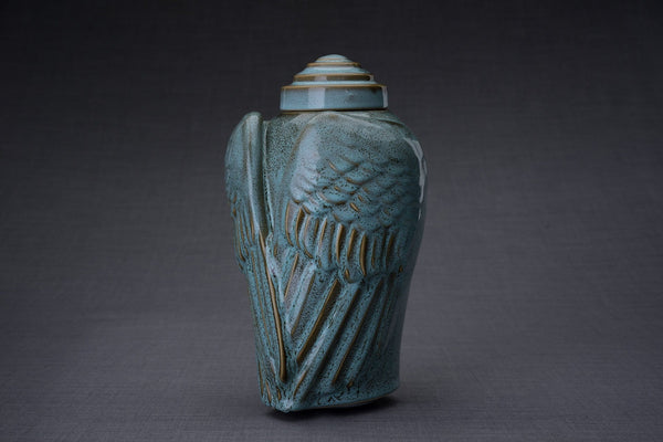 Wings Handmade Cremation Urn for Ashes, size Large/Adult, color Oily Green Melange-Pulvis Art Urns