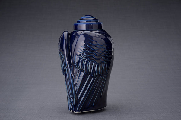 Wings Handmade Cremation Urn for Ashes, size Large/Adult, color Cobalt Metallic-Pulvis Art Urns