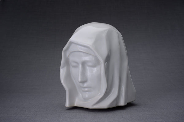 The Holy Mother Handmade Cremation Urn for Ashes, size Large/Adult, color White-Pulvis Art Urns
